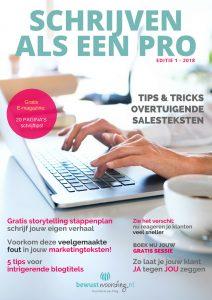 E-magazine, magazine, schrijven als een pro, bewustwoording, ilse de boer, schrijven, schrijftips, copywriting, bloggen, Ebook, E-book