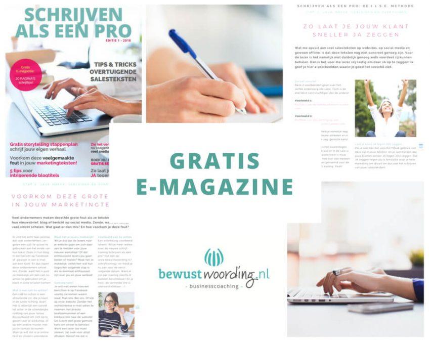 E-magazine, schrijven als een pro, bewustwoording, ilse de boer, schrijfcoaching, schrijftips, magazine, schrijven, copywriting, teksten,